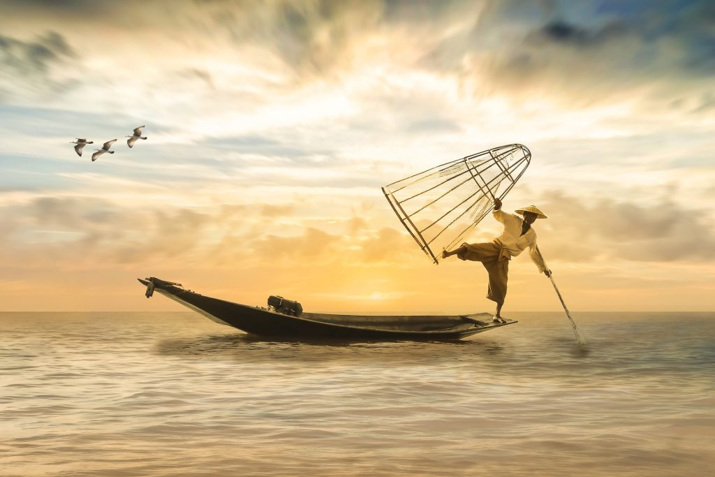 Man in fishing boat